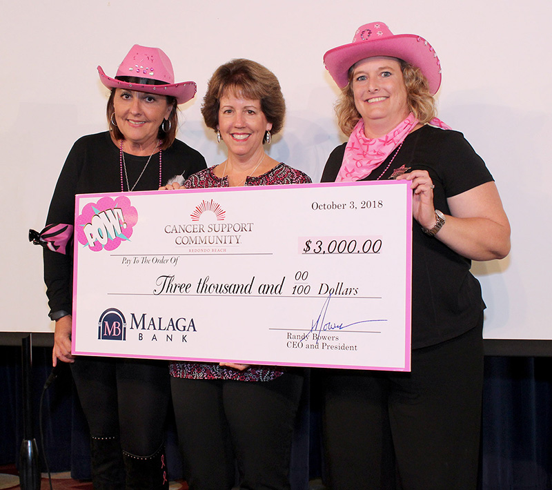 Malaga Bank dontates $3000 to Cancer Support Community Redondo Beach