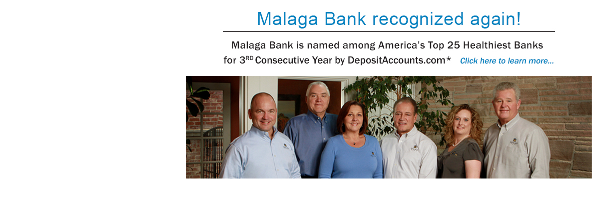 Malaga Bank is named among America's top 25 healthiest banks for 3rd year in a row by DepositAccounts.com